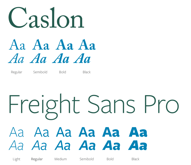 A screenshot of brand fonts including Caslon and Fright Sans