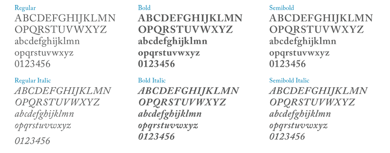 Screenshot of Caslon samples