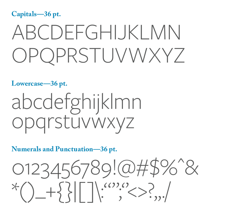 En example of what the font Freight Sans Pro looks like.