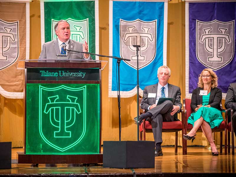 President Fitts giving State of the University address