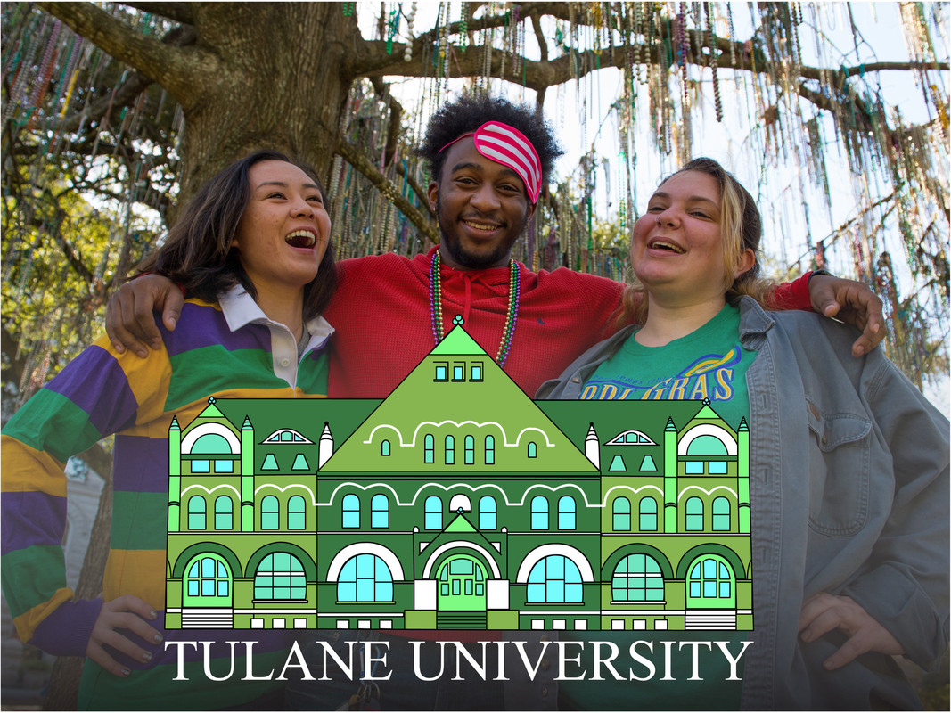 Tulane students pose and use the Snapchat geofilter created by Tulane Web Communications