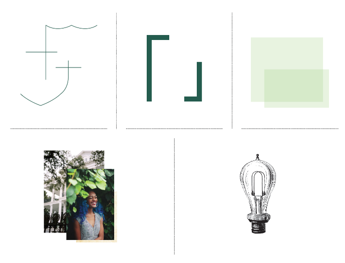 Examples of graphical elements encouraged by the Tulane Style Guide