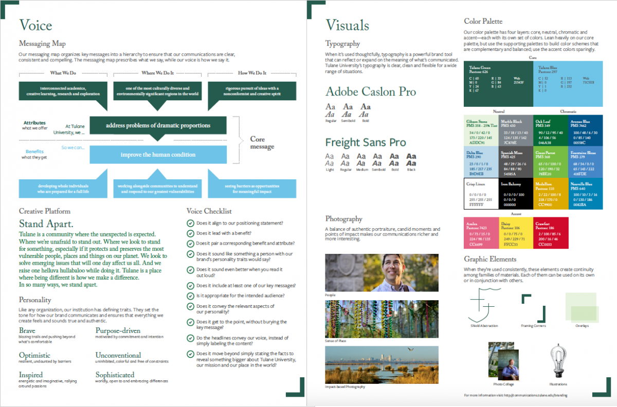 preview of a printable worksheet that includes information from Tulane University's style guide on various brand elements including voice and messaging and visuals