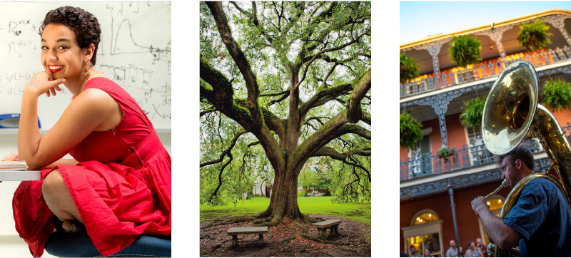A photo collage of a woman smiling, a large oak tree, and a man playing a tuba.