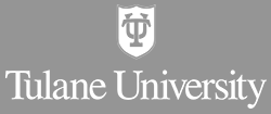 TU shield in white centered over Tulane University in white on a gray background