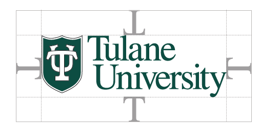 "To ensure that clear space is maintained around the logo for legibility and prominence, photos, text and graphic elements must follow the guidelines illustrated here. Use the letter ""T"" from ""Tulane"" as a measuring tool to help maintain clearance."
