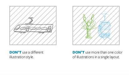 DON'T use a different illustration style. DON'T use more than one color of illustrations in a single layout.