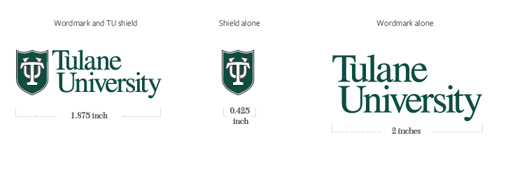 A depiction of spacing around logos: Wordmark and TU shield, Wordmark alone, Shield alone.