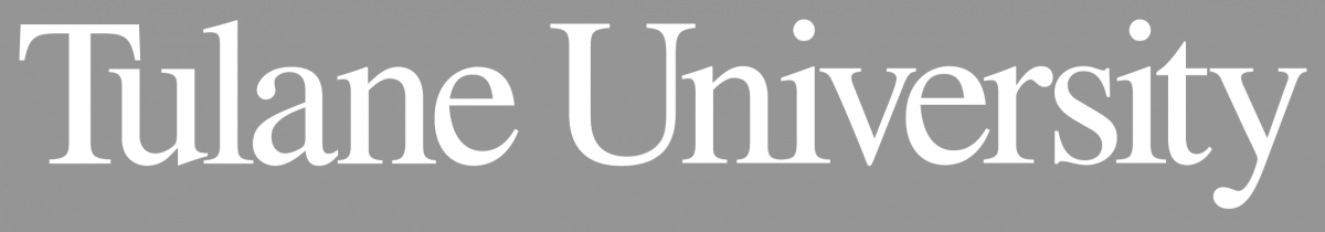 Tulane University word mark in white on a gray background