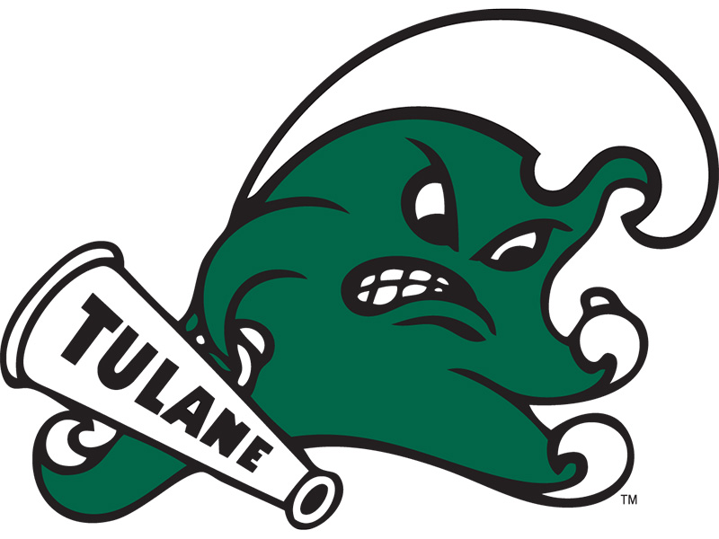 Angry Wave logo in green and white holding TULANE megaphone