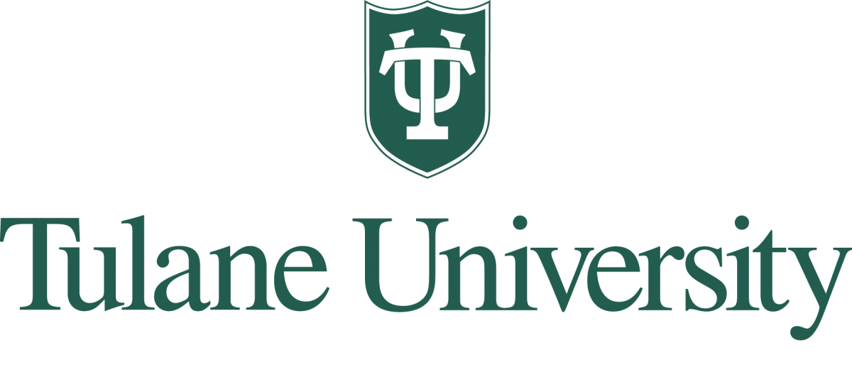 TU shield in green centered over Tulane University in green