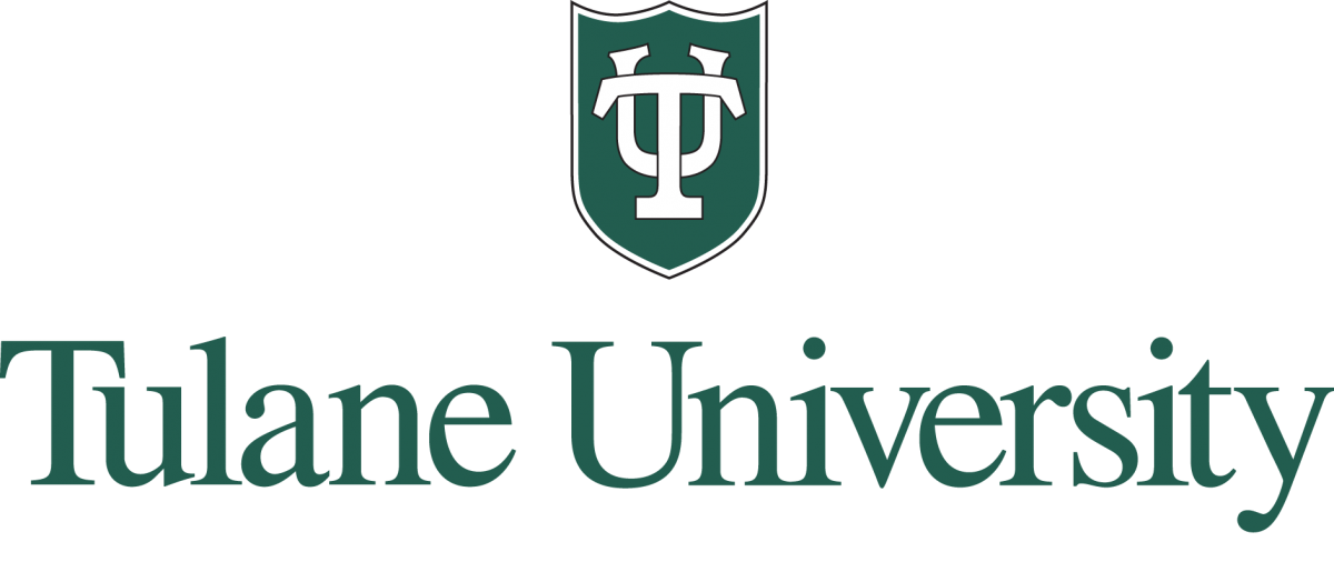 TU shield in black and green centered over Tulane University in green